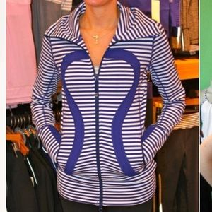 Lululemon In Stride Jacket Blue/White Stripe